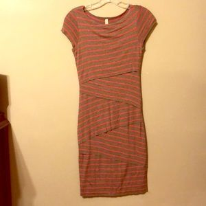 Bailey 44 grey and pink striped tube dress.